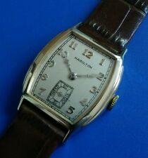 Exquisite 1936 Vintage Mans HAMILTON *MORLEY* Hand Wind Stunning Silver Dial!