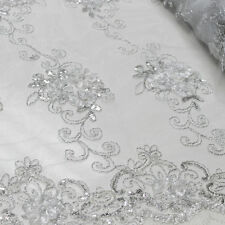 3 Colors 3D Hyacinth 3Floral Sequin Foil Embroidered 54'' Scalloped Lace Fabric
