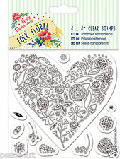 Docrafts Papermania FOLK FLORAL clear rubber stamp set of 11. Heart with flowers