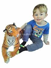 "Brown Tiger Plush Soft Toy Large Medium 100cm 40"" with tail 70cm without"