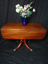 18th Century English Regency Plum Mahogany Drawer Leaf Dining Library Table
