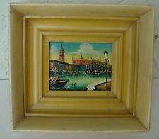 VENICE - GRAND CANAL - MINIATURE PAINTING  - VINTAGE -ORIGINAL- FRAMED & SIGNED