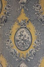Blue toile de Jouy yellow printed linen fabric material old faded material
