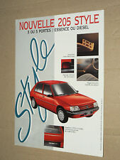 Prospectus PEUGEOT 205 Style 1993  brochure prospekt  car catalogue