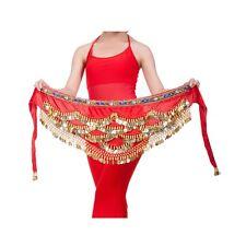 Belly Dance Hip Skirt Scarf Wrap Gem Waist Belt With Three Layers Golden Coins