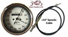 "REPLICA SMITHS WHITE FACE SPEEDOMETER 10-120MPH + 54"" SPEEDO CABLE"