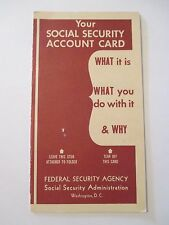 VINTAGE 1948 SOCIAL SECURITY ACCOUNT FEDERAL Information Advertising Brochure