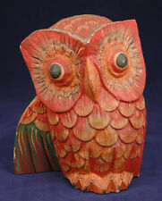 Owl Statue-Hand Carved Wood Sculpture-Red Feathers-Wide Eyes-Folk Art-Outsider