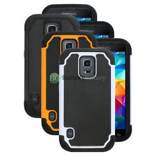 Lot of 3 Black/Orange/White Hybrid Rubber Case Cover for Samsung Galaxy S5 Mini