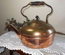 Large Vintage Copper Kettle with Wooden Handle with Great Patina