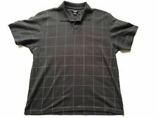 VAN HEUSEN Mens Polo Shirt L Sz Black Plaid Rugby Short Sleeve Cotton Polyester
