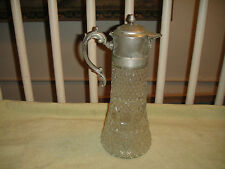 Superb Cut Glass Claret Or Carafe W/Silver Metal Top-Brilliant Glass-Large-4.8LB