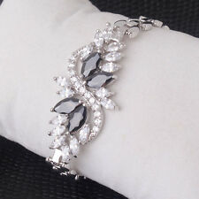 Elegant Black & White Clear Sapphire Flower Design Silver Tone Bracelet Bangle