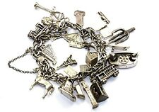 VINTAGE RARE 20 CHARMS CHAIN W/ SAFETY CHAIN BRACELET 925 STERLING BR 1471