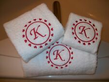 Embroidered Valentines Day Bath Towel Set with Hearts and Letter Monogram