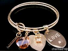 "MYTHOLOGIE Rose Gold Satin Bangle Charm Bracelet Set Heart Love Affirmation 8""D"