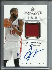 Greg Monroe 12/13 Immaculate Collection Autograph Game Used Jersey #048/100