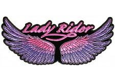 "(L01) Large LADY RIDER WINGS 10"" x 4.5"" sew / iron on patch (3119) Purple/Pink"
