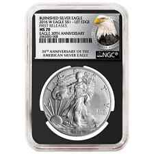 2016-W Burnished $1 American Silver Eagle NGC MS70 First Releases Bust FR Label