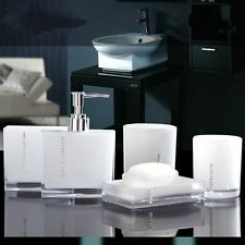 5pcs Bathroom Accessories Shower Soap Dish Toothbrush Holder Cup Bottle Black