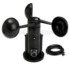 Wind Speed Sensor Anemometer Three Cups Current Voltage Output 0-5V w/ 3M Cable