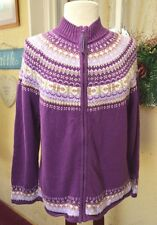 Tiara Zip Front Cardigan Sweater XL Purple Multi Color Fair Isle Classic Vegan