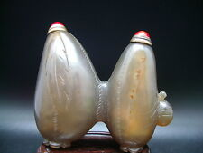 RARE ANCIENNE DOUBLE TABATIERE EN AGATE FAIT A LA MAIN ANTIQUE SNUFF BOTTLE