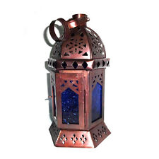 Moroccan Hanging Lantern, Antique Blue Glass TeaLight Candle Holder, Home Decors