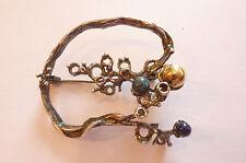 Rarität alte nordische Designerbrosche Silber vergoldete Elemente mit Jaspis