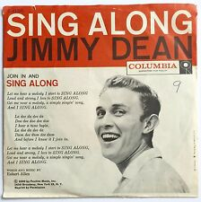VINTAGE 1959 JIMMY DEAN - SING ALONG ~ COLUMBIA 45RPM PICTURE COVER VG+