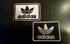 "2 - ADIDAS PATCHES Logo embroidered iron on Patch Lot 2"" x 1.5""  Black - White"
