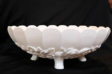 Vintage  Milk Glass Large Oval Embossed Fruit Footed  Bowl 12""