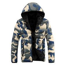 Men Winter Warm Camouflage Down Coat Fashion Hooded Zip Outwear Padded Jacket