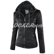 Doker Womens Casual Hooded Parka Coat Leather Jacket Trench Warm Winter Black XL