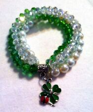 Beautiful Handmade Pearl Crystal Leaf lady Bug Charm Bracelet