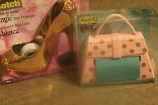 Scotch  Metallic  Pink Shoe Tape  Dispenser & Pink with Pink Dots Post It Purse