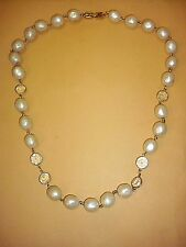 Vintage Givenchy Gold Tone Creamy White Faux Pearl & Crystal Necklace 24""