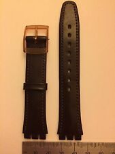 Swatch 17mm watch strap brown leather Plastic buckle 'moreno' 026