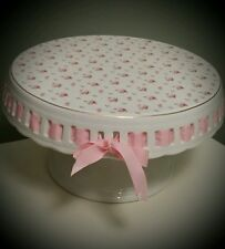 """Grace's Teaware 10"""" Floral design Pink Victorian Adorable Cake Stand"""