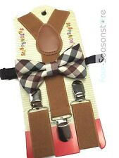 Vintage Brown toddler bow tie and suspenders set - baby boy/girl Accesorries