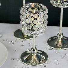 2 x Crystal Silver Plated Tea Light Candle Holder 20cm Weddings Home Decoration