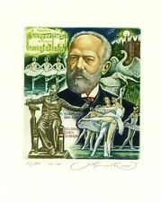Composer Tchaikovsky, Ballet, Music, Limited Edition Ex libris by S. Kirnitskiy