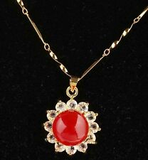 VERY RARE!! Beautiful Bright Crystal Red Opal Daisy Gold Necklace 14KGF Gift