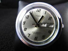 Vintage TIMEX AUTOMATIC Silver Face Mechanical WIND UP & NEW LEATHER BAND Watch