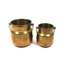 "Rustic Brass Milk Jug Style Planter Pot Set with Side Rings, 3.75"" and 4.25"""