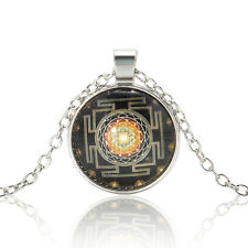 Tibet Silver Jewerly Mystery Sri Yantra Patterns Cabochon Glass Pendant Necklace