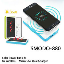 Portable Solar Power Bank 5000mAh Fast Qi Wireless Charger Pad USB Charger Blue