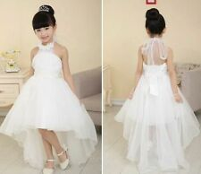 Girls White Flower Bridesmaid Party Wedding Tailing Dress Kids Dresse Age8-9Year