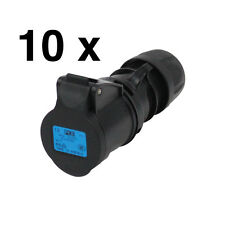 10 x 16a Black Socket Coupler IP44 16 Amp Stage Theatre Power Heavy Duty