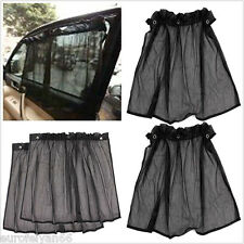 2 Pcs Black Suction Type Car SUV Sun-shading Rear Window Mesh Interlock Curtains